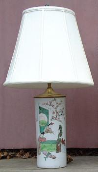 Antique 19th Century Japanese Brush Pot table Lamp