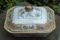 Rose Medallion Porcelain Covered Serving Dish