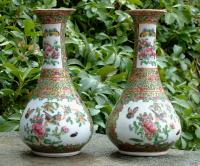 Antique Pair Rose Medallion Chinese Vases