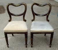 Pair Antique Victorian Empire Hand Painted Side Chairs