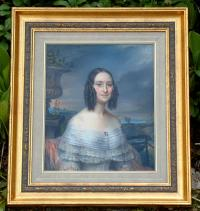 Charles Fournier Antique French Pastel portrait of a woman