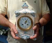 Sarraquemines French antique mantle clock in porcelain