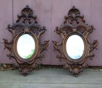 Antique French wall mirrors in carved oak