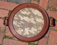 19th Century Walnut Tray with Paper cut Japanese Maple Leaves