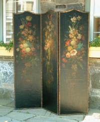 Antique Leather Screen with still life hand painted floral paintings