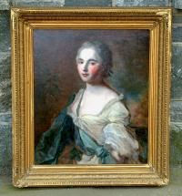 Antique French womans portrait oil on canvas c1780