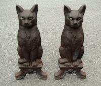 Antique Cast Iron Cat Andirons with green marble glass eyes