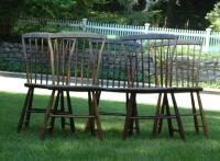 Antique Step down Rod Back American Windsor Chairs set of five