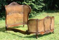 Antique French Cane Walnut Bed 1860