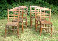 Antique English Elm Plank Seat Chairs set of 6