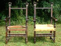 Antique Pair 18th Century French Oak Arm Chairs