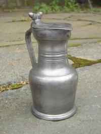 Antique French Normandy pewter flagon lided jug