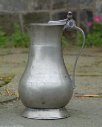 Antique French or Jersey Island lidded flagon jug