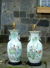 Antique Pair Late 19th Century Chinese Porcelain Vase Lamps
