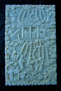 Antique Carved Chinese Ivory card case