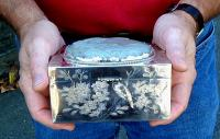 Antique Chinese silver and soap stone box