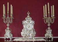 French late 19th century clock garniture set
