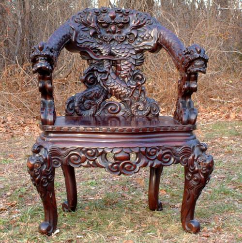 Antique Hand Carved Chinese Serpent Chair