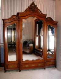Antique French Victorian Walnut Armoire