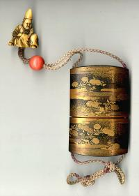 Antique Japanese Lacquer Inro and Ivory Netsuke