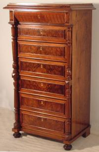 Antique Swedish walnut tall chest c1860