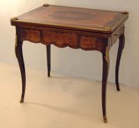 Antique French inlaid and marquetry game table