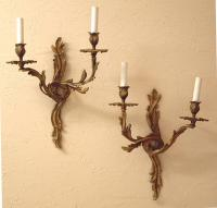 Antique French Victorian brass wall sconces