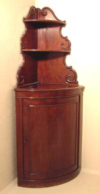 French mahogany 19th century corner cupboard