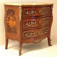 Louis XV French style Bombe marquetry chest c1890