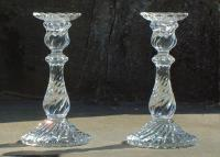 Antique French Baccarat Glass Candle Sticks