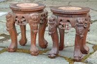 Antique Pair Chinese Carved Plant Stands with Marble Tops
