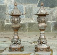 Vintage Bronze Chinese Pagoda Lamps
