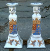 Antique Chinese Export Armorial Candle Sticks
