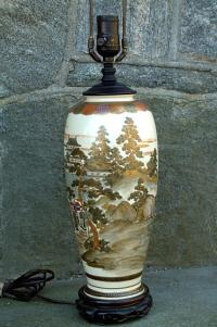 Antique Japanese Satsuma Lamp