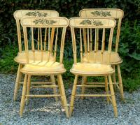 Antique Sheraton yellow painted Country Windsor Chairs