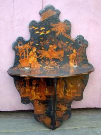 Antique Japanese Papier Mache Folding Shelf