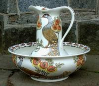 Antique Art Nouveau Porcelain Furnivials Pitcher Bowl