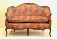 Antique French carved Walnut Upholstered Love Seat