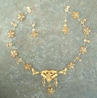 Antique French Necklace and Earrings 18k gold and citrine stones