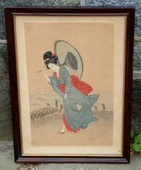Antique Japanese Woodblock Print Beauty in the Rain