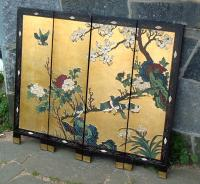 Antique Chinese coromandel miniature lacquer screen