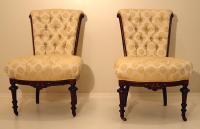 Antique Pair of Tufted Eastlake Victorian Ladies Chairs