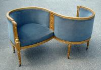 Antique French Tete a Tete upholstered gold leaf