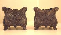Pr Antique French cast iron planters c1880