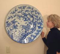 Large Meiji period Japanese charger in blue and white