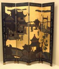 Coromandel Chinese Lacquer screen 4 panel