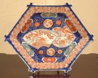 Antique Japanese Imari porcelain dish six sided