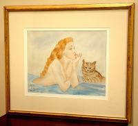 Leonard Tsuguharu Foujita Japanese Watercolor Woman and Cat