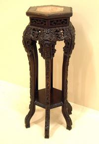 Antique Chinese Marble Top Plant Stand