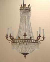 Antique French hanging crystal chandelier